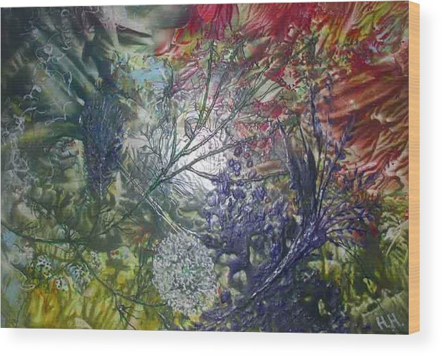 Abstract Wood Print featuring the painting In The Forest by Heather Hennick