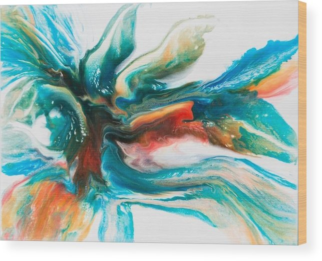 Abstracion Wood Print featuring the painting Invitation by Ewelina Naumnik