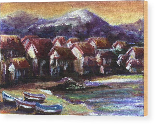 Oil Wood Print featuring the painting Italian Coast by Patricia Halstead