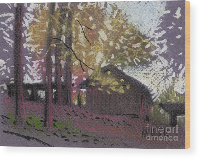 Pastel Wood Print featuring the drawing James's Barns 9 by Donald Maier