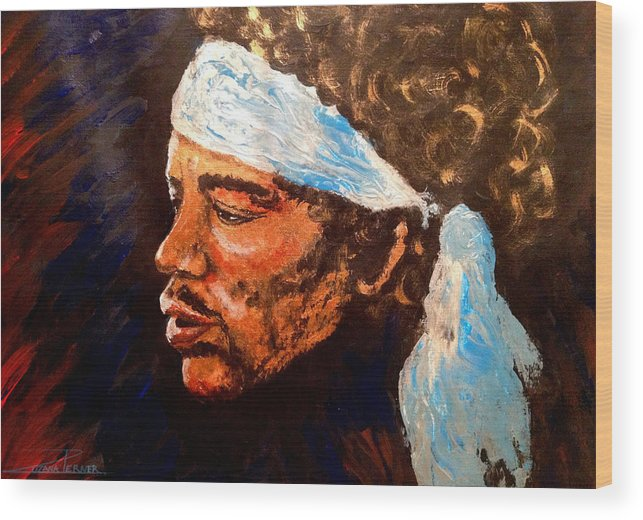 Jimi Hendrix Artwork Wood Print featuring the painting Jimi by Zuzana Perner