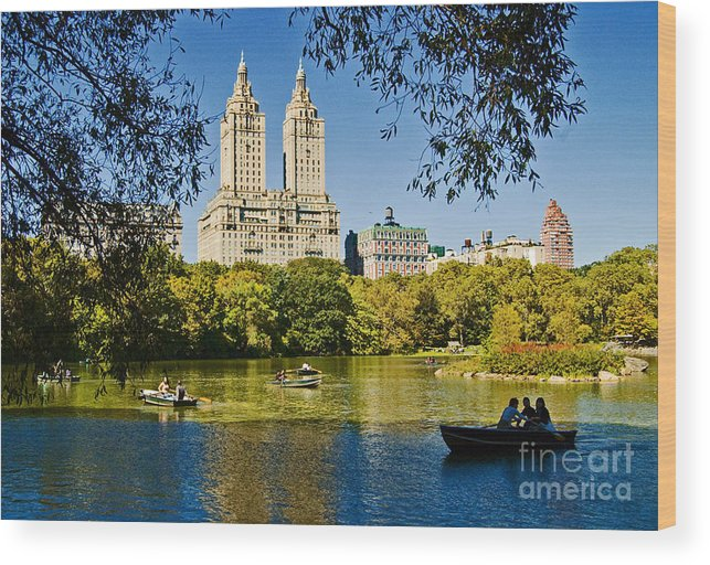 Central Park Wood Print featuring the photograph Lake In Central Park by Allan Einhorn