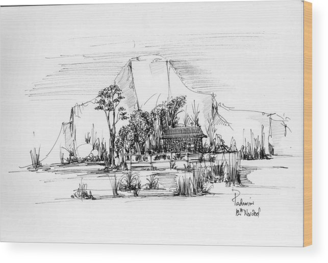 Landscape Wood Print featuring the drawing Landscape 1 by Padamvir Singh