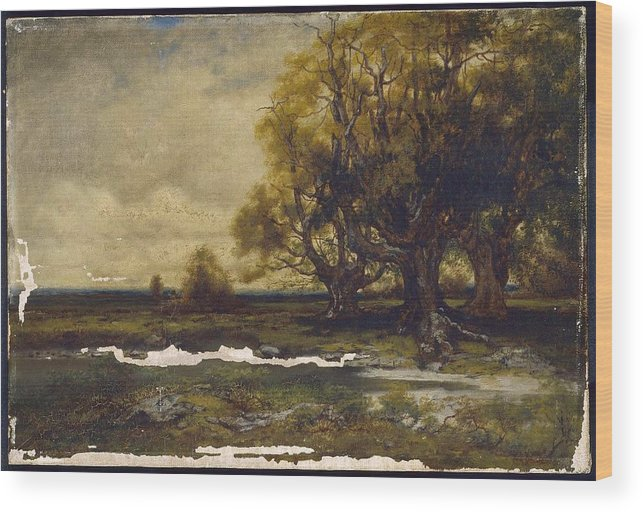 Landscape With Tree Mid-19th To Early 20th Century Alexander Lawrie (american Wood Print featuring the painting Landscape With Tree by MotionAge Designs