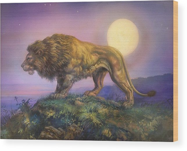 Jesus Helguera Wood Print featuring the painting Leon Nocturno by Jesus Helguera