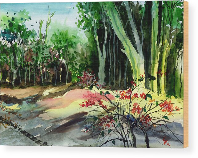 Watercolor Wood Print featuring the painting Light In The Woods by Anil Nene