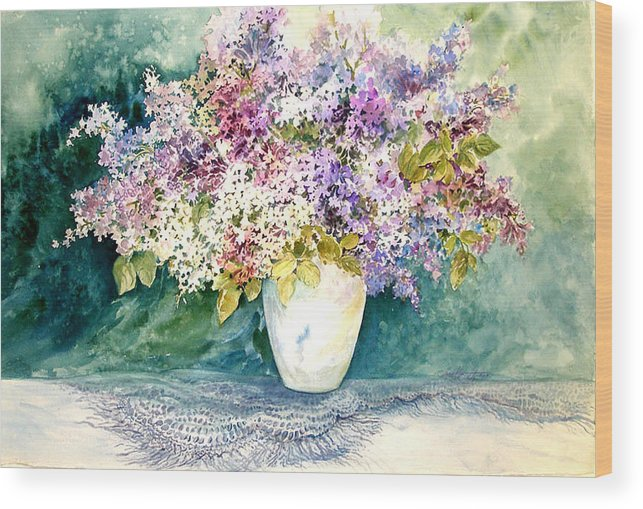 Lilacs;purple Lilacs;vase;floral Watercolor; Wood Print featuring the painting Lilacs And Lace by Lois Mountz
