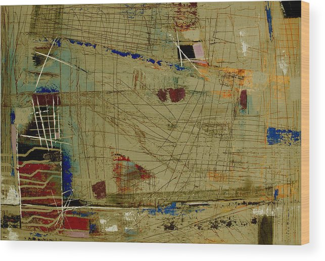 Abstract Wood Print featuring the painting Living Dangerously by Ruth Palmer