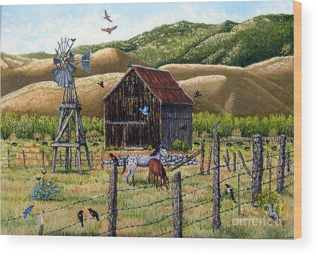 Southwest Wood Print featuring the painting Lompa Valley Ranch by Santiago Chavez