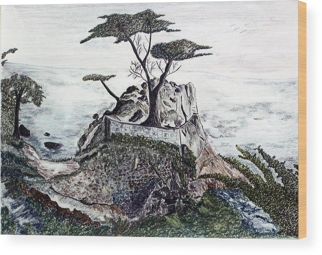 California Wood Print featuring the drawing Lone California Tree by Diane Frick