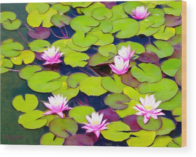 Lilypads Wood Print featuring the painting Lotus Blossom Lily Pads by Alice Schear
