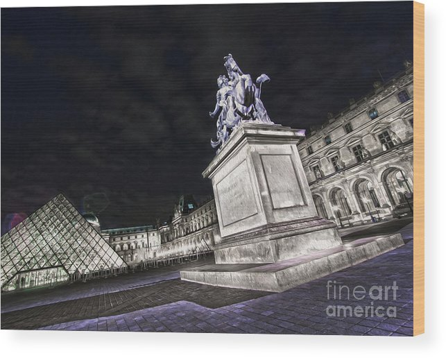 Paris Wood Print featuring the photograph Louvre Museum 7 Art by Alex Art and Photo