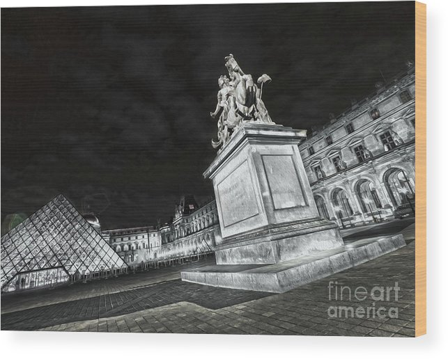 Paris Wood Print featuring the photograph Louvre Museum 7 Art Bw by Alex Art and Photo