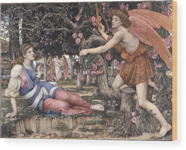 Love And The Maiden - John Roddam Spencer Stanhope Wood Print featuring the painting Love And The Maiden by MotionAge Designs