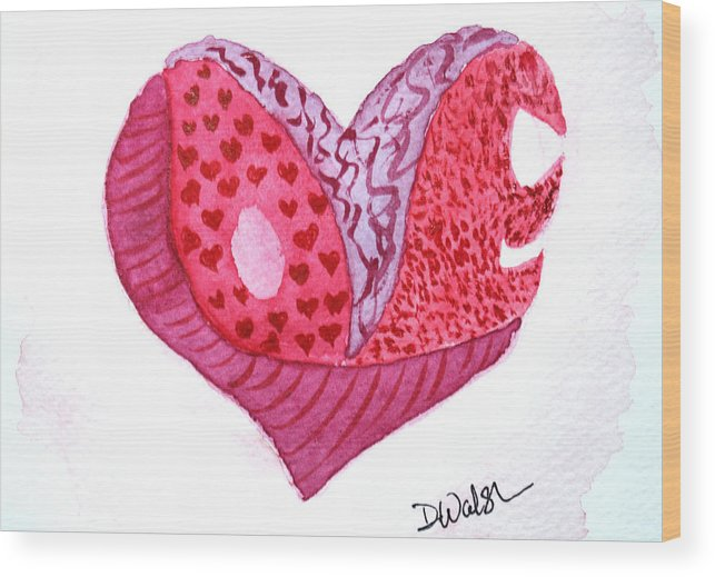 Love Wood Print featuring the painting Love Heart by Donna Walsh