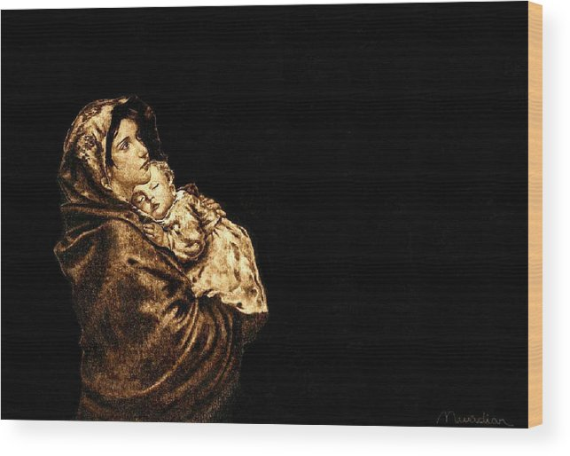 Dino Muradian Wood Print featuring the pyrography Madonnina by Dino Muradian