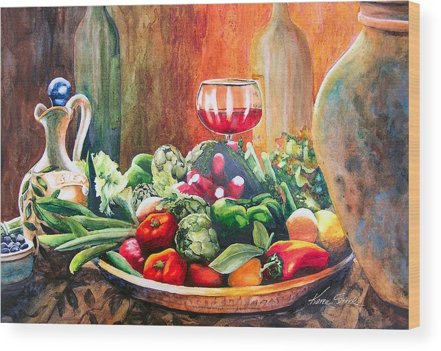 Still Life Wood Print featuring the painting Mediterranean Table by Karen Stark