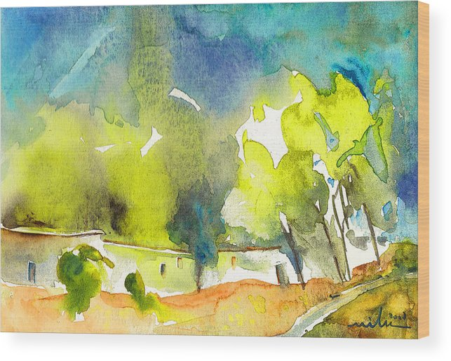 Watercolour Landscape Wood Print featuring the painting Midday 14 by Miki De Goodaboom