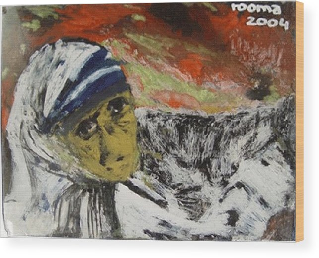 Saint Wood Print featuring the glass art Miracle Mother by Rooma Mehra