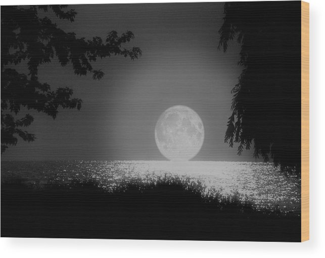 Moon Wood Print featuring the photograph Moonset On Lake Erie by Kenneth Krolikowski