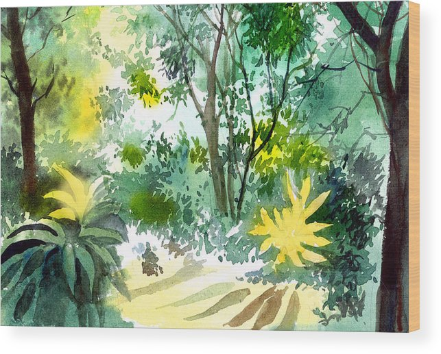 Landscape Wood Print featuring the painting Morning Glory by Anil Nene