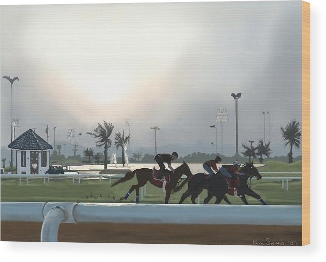 Horses Wood Print featuring the painting Morning Workout by Kim Souza
