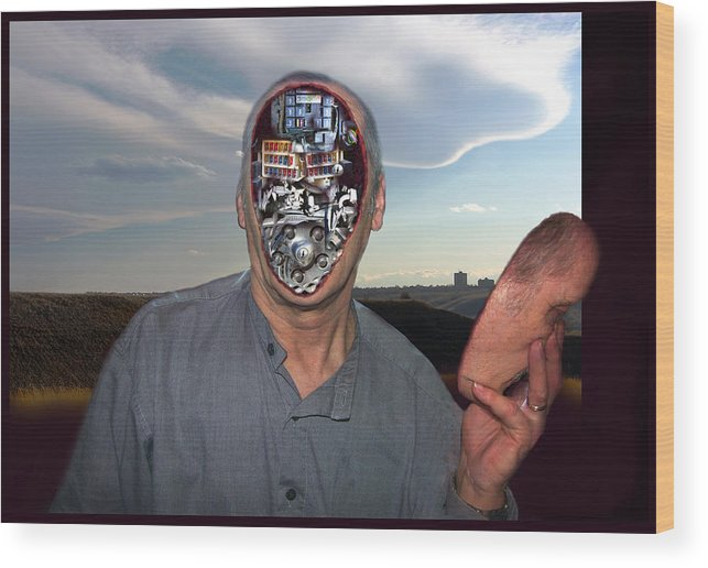 Surrealism Wood Print featuring the digital art Mr. Robot-otto by Otto Rapp