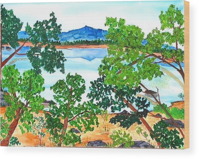 Landscape Wood Print featuring the painting Mt. Katahdin by Katina Cote