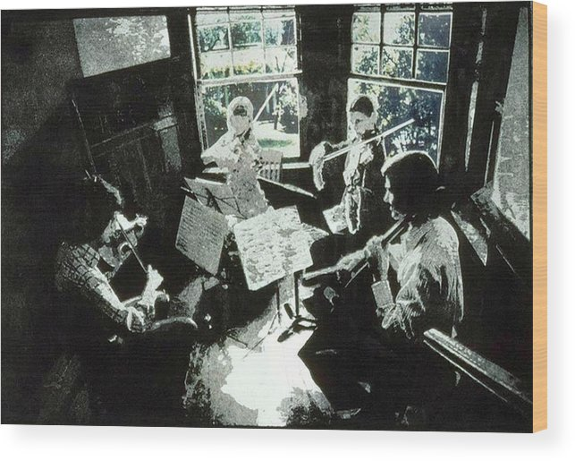 String Quartet Wood Print featuring the mixed media Music As Light by Randy Sprout