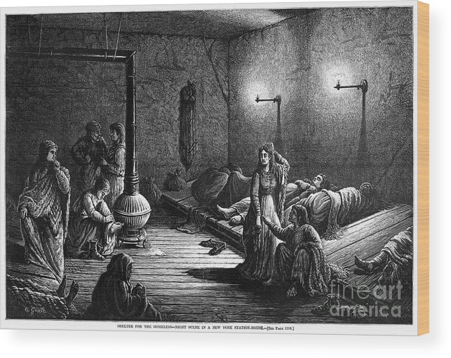 American Wood Print featuring the photograph New York: Homeless, 1873 by Granger