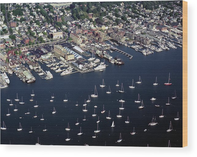 Newport Ri Aerial Wood Print featuring the photograph Newport R I Aerial View by John Rowe