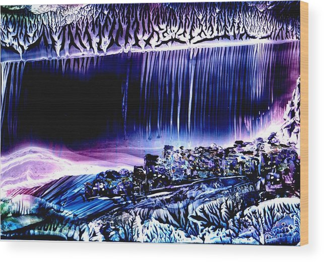 The Night City Wood Print featuring the painting Night by Alla Bechtold