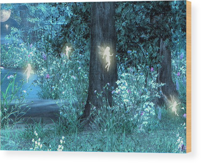 Night Magic Fairy Flight Fairies Fae Wood Print featuring the digital art Night Magic Fairy Flight by Lisa Roy