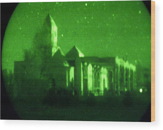 Mosque Wood Print featuring the photograph Night Vision Mosque Kandahar by Thomas Michael Corcoran