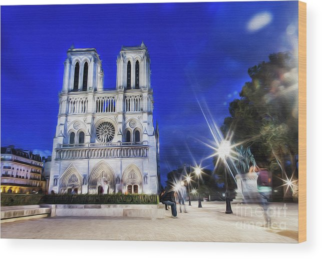 Notre Dame Cathedral Wood Print featuring the photograph Notre Dame Cathedral Paris 4 by Alex Art and Photo