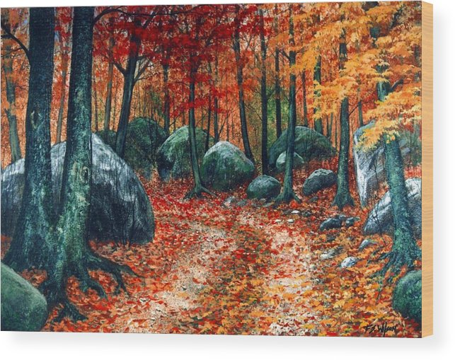 Landscape Wood Print featuring the painting October Woodland by Frank Wilson