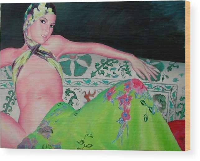 Donna Wood Print featuring the painting Odalisca by Gustavo Aresu