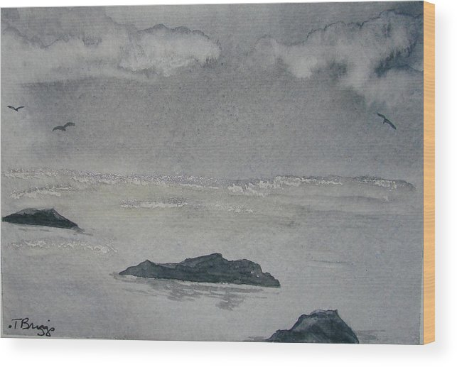 Ocean Wood Print featuring the painting On The Sea by Dottie Briggs