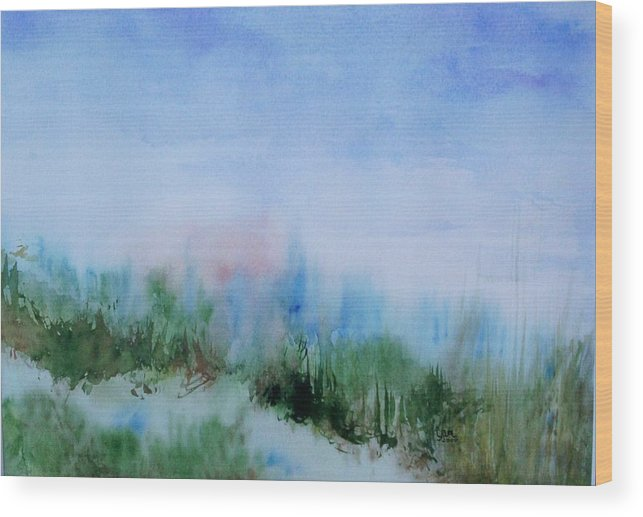 Landscape Wood Print featuring the painting Overlook by Suzanne Udell Levinger