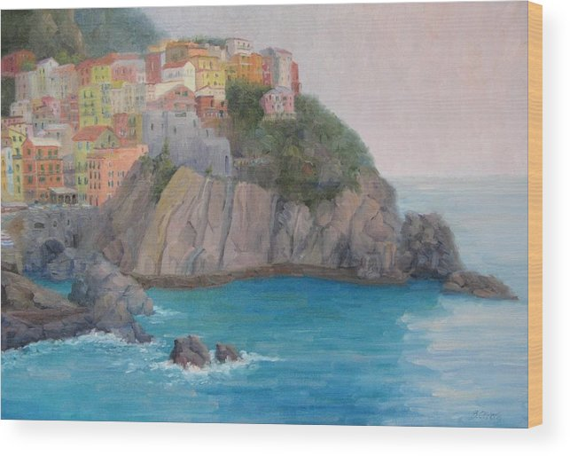 Italy Wood Print featuring the painting Painted Ladies Of Manarola by Bunny Oliver