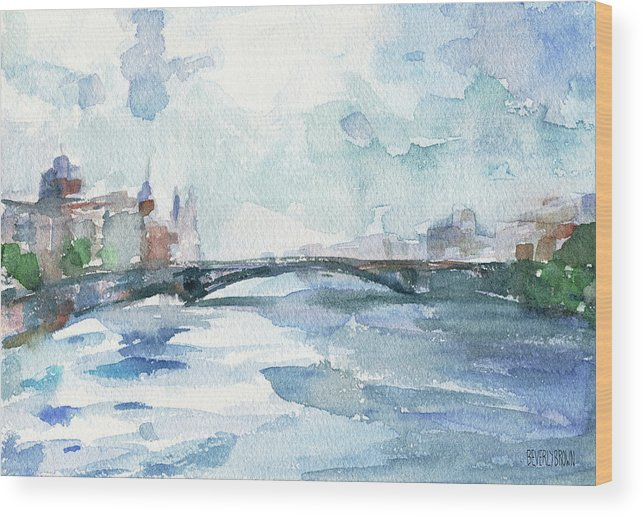 Paris Wood Print featuring the painting Paris Seine Shades Of Blue by Beverly Brown Prints