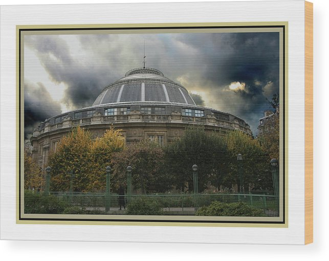 Paris Wood Print featuring the photograph Parisian Spaceship by Guy Ciarcia