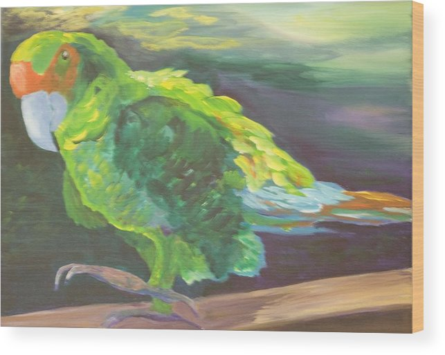 Birds Wood Print featuring the painting Parrot Posing by Anita Wann