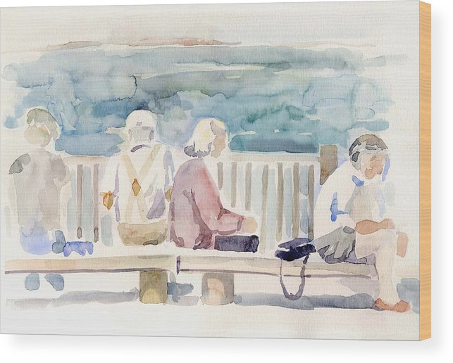People Paintings Wood Print featuring the painting People On Benches by Linda Berkowitz