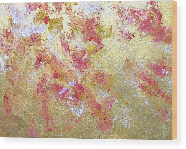 Abstract Wood Print featuring the painting Petal Abstraction by Michela Akers