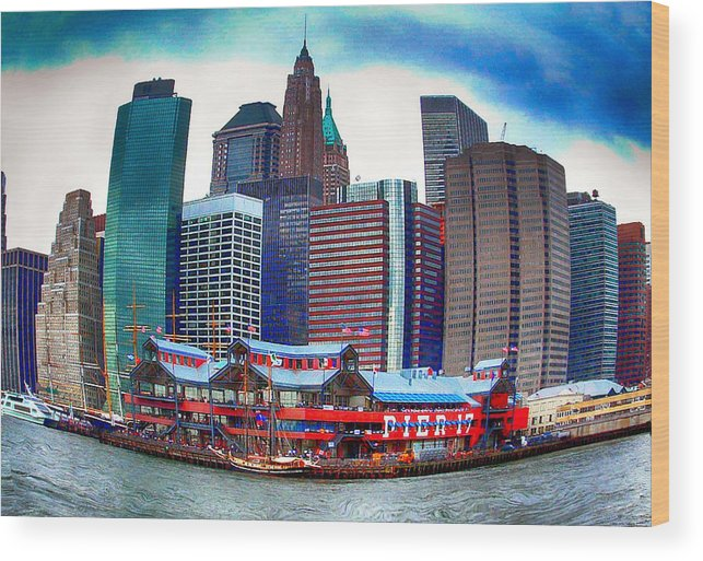 Pier 17 Wood Print featuring the photograph Pier 17 Ny Ny by Debbie Nobile