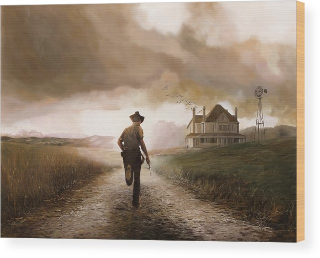 Cow Boy Wood Print featuring the painting Un Pistola by Guido Borelli