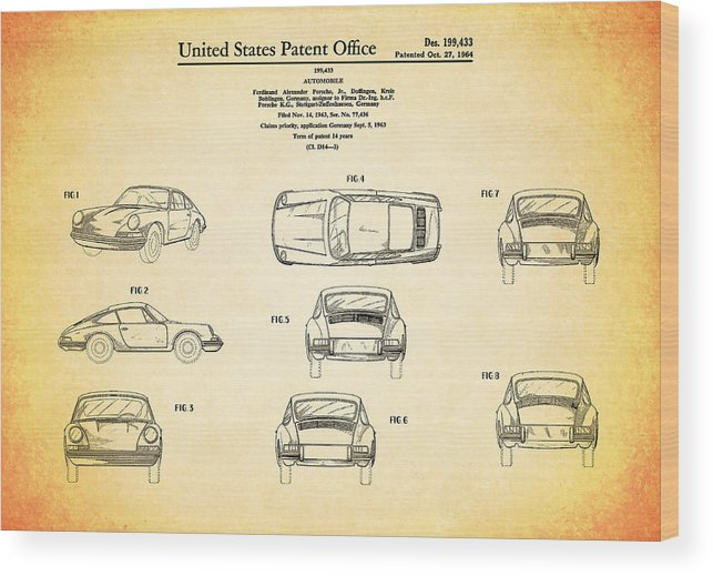 Porsche 911 Patent Wood Print featuring the photograph Porsche 911 Patent by Mark Rogan