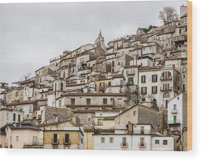 Pretoro Wood Print featuring the photograph Pretoro - An Ancient Village by Andrea Mazzocchetti