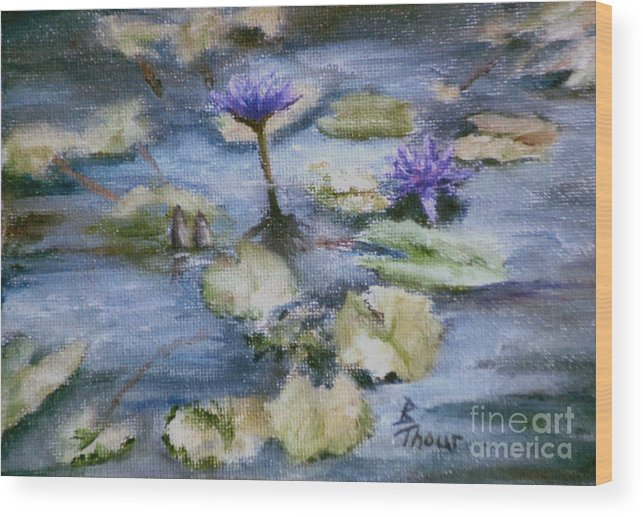 Lily Wood Print featuring the painting Purple Lily by Brenda Thour